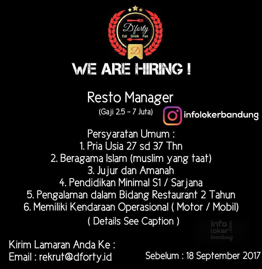 Lowongan Kerja D'Forty Resto Cirebon September 2017