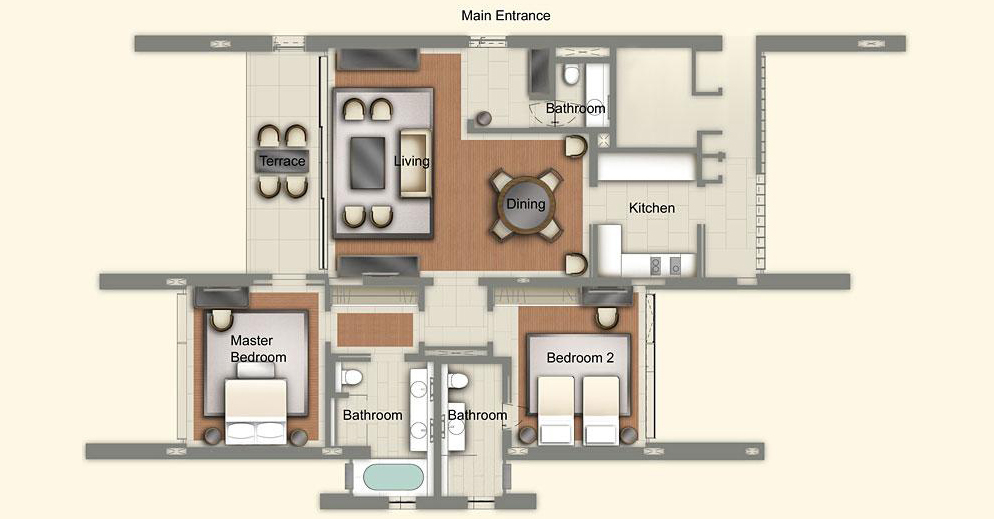 The Club Residences 2 Bedroom Suites - Floor Plan