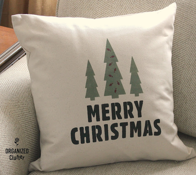 DIY Neutral Christmas Pillow Covers and Signs with Old Sign Stencils #stenciling #oldsignstencils #Christmastrees #canvaspillow #neutralChristmasdecor #Christmas #Holidaydecorations