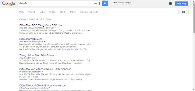 Tìm diễn đàn bằng google search