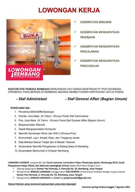 Lowongan Kerja Staff Administrasi dan Staff General Affair Kantor Pos Pemuda Rembang