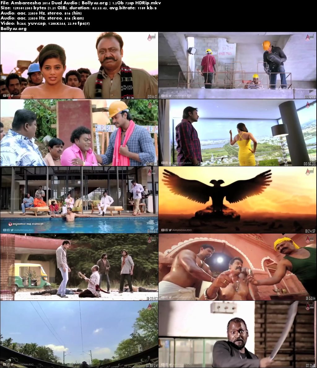 Ambareesha 2014 HDRip 450Mb 480p Full Dual Audio Movie Download