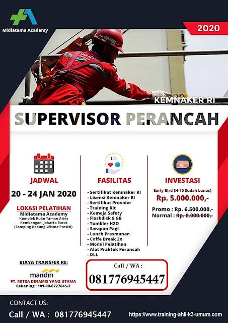 Supervisor Perancah kemnaker tgl. 20-24 Januari 2020 di Jakarta