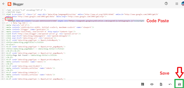 Paste code on your blogger