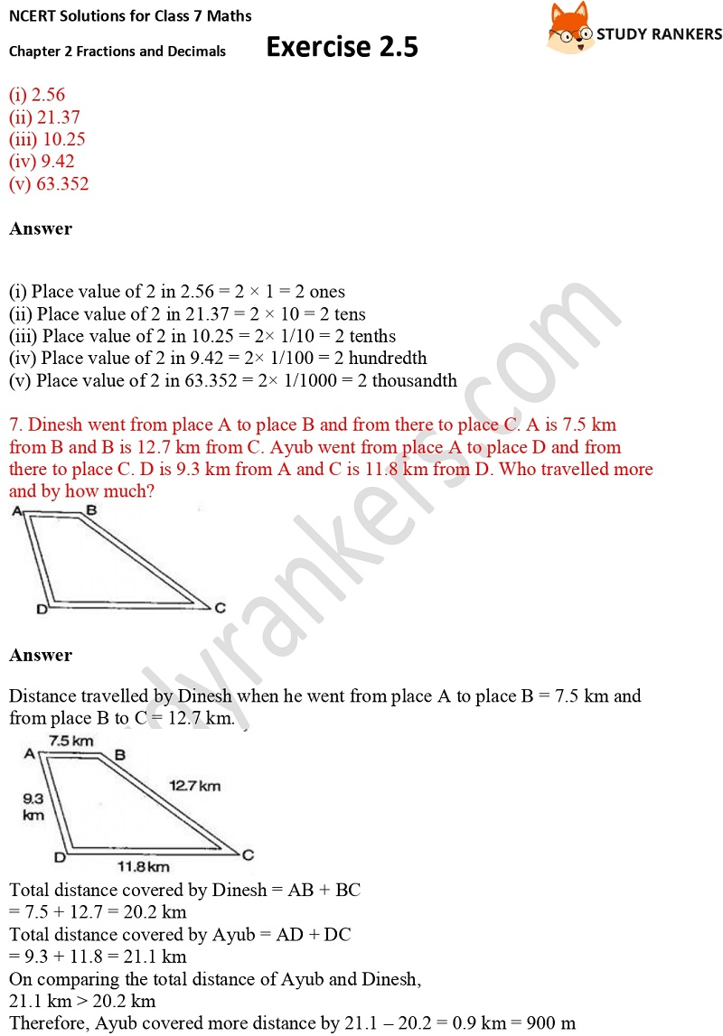 NCERT Solutions for Class 7 Maths Ch 2 Fractions and Decimals Exercise 2.5 3