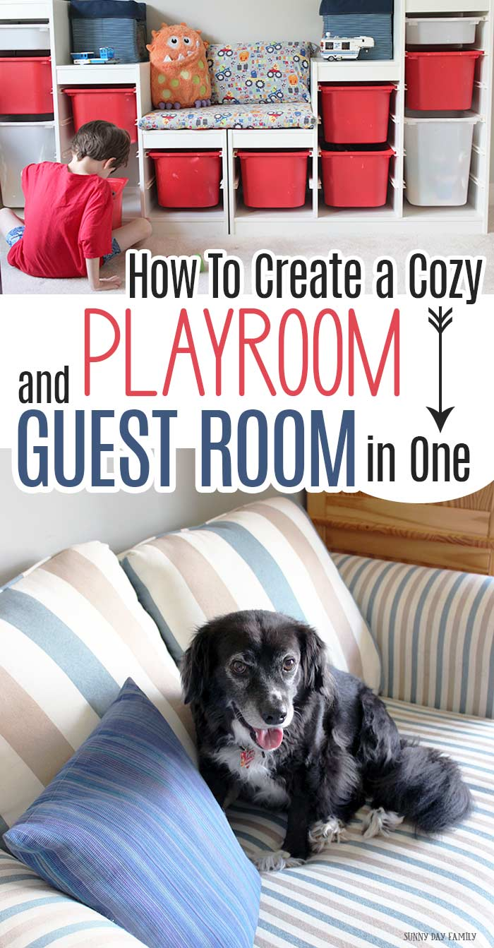 Want to maximize your space? Combine your playroom and guest room in one! It's easy to do with smart storage solutions and pieces that do double duty. Make it cozy for kids, comfy for guests, and a place everyone will love with these tips. AD