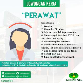 Info Lowongan Kerja Perawat Rumah Sakit Aulia Jakarta Depok