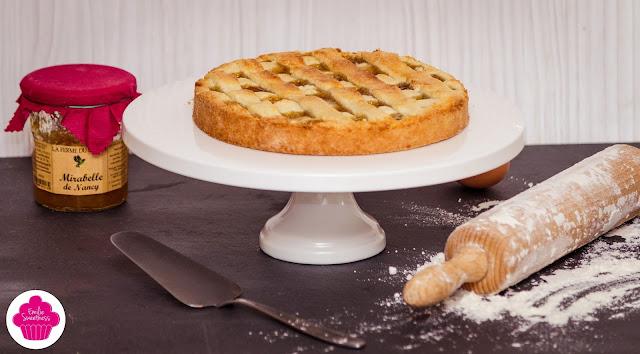 Tarte à la confiture de mirabelles avec une pâte sablée à la poudre d'amande