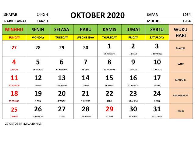 Kalender 2020 Jawa Bulan Oktober