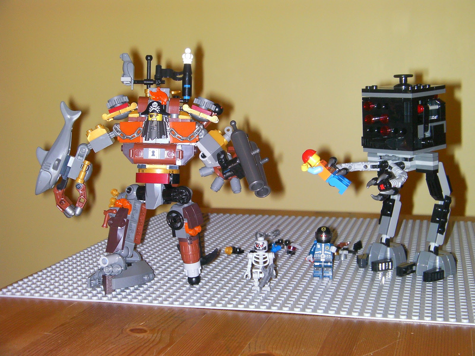 lego movie metalbeard the pirate and micromanager with frank the foreman robo swat skeletron