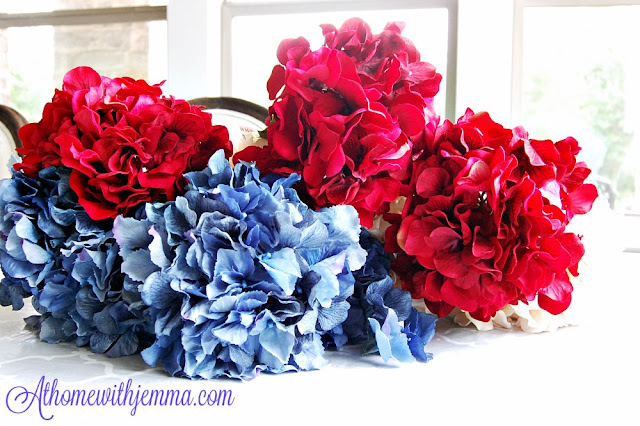 Floral, flowers, hydrangeas, decorate, wreath, patriotic