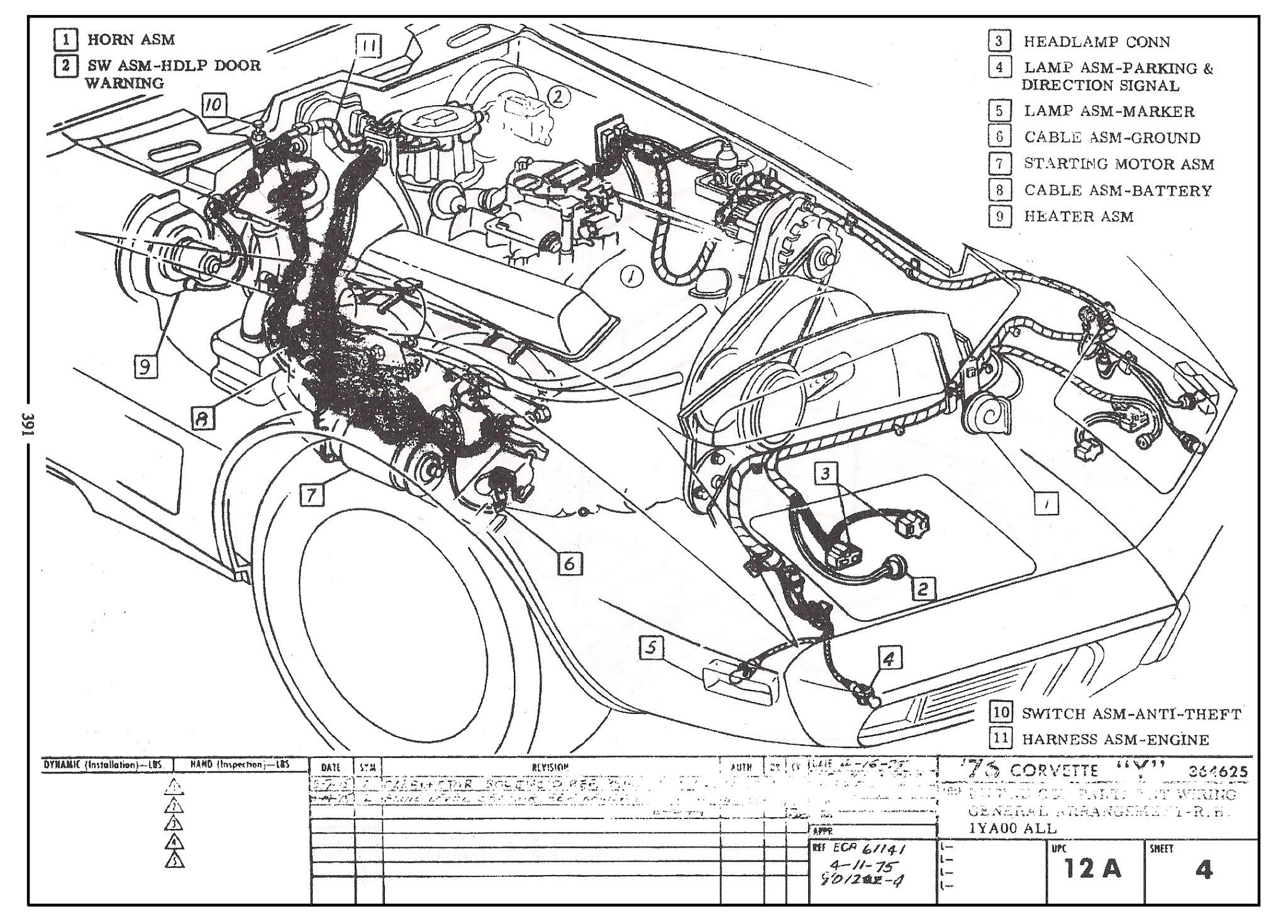 1976 corvette stingray: restore, repair, detail: how to replace c3 engine &  headlight wiring harness  1976 corvette stingray
