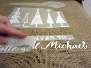 Santa Sack by Janet Packer - Flocked Heat Transfer Vinyl on Hessian sack