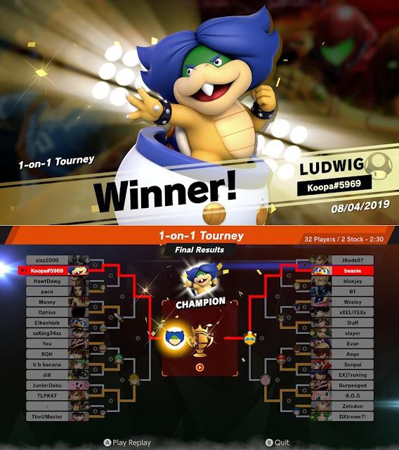 Super Smash Bros. Ultimate Ludwig Von Koopa champion winner final results online tourney mode Koopa#5969