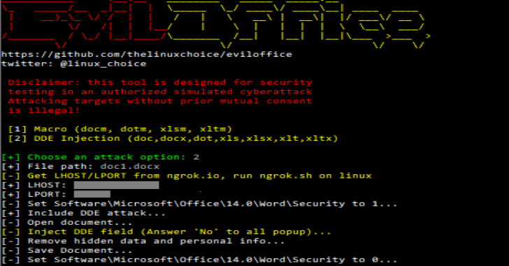 Eviloffice : Inject Macro & DDE Code Into Excel & Word Documents