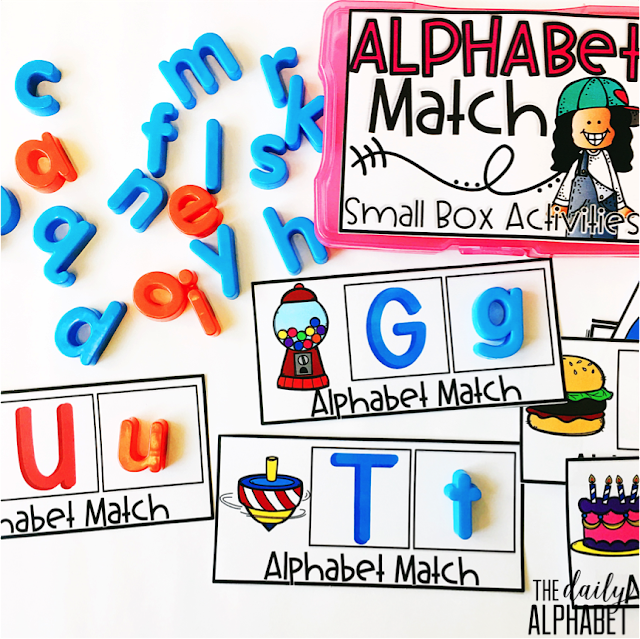 This freebie alphabet match center is an easy to prep, purposeful activity, that is perfect for little hands. It can be used for morning work, a literacy or math center, early finisher work, etc. Any type of manipulative can be used for this activity, including but not limited to counters, coins, or erasers.