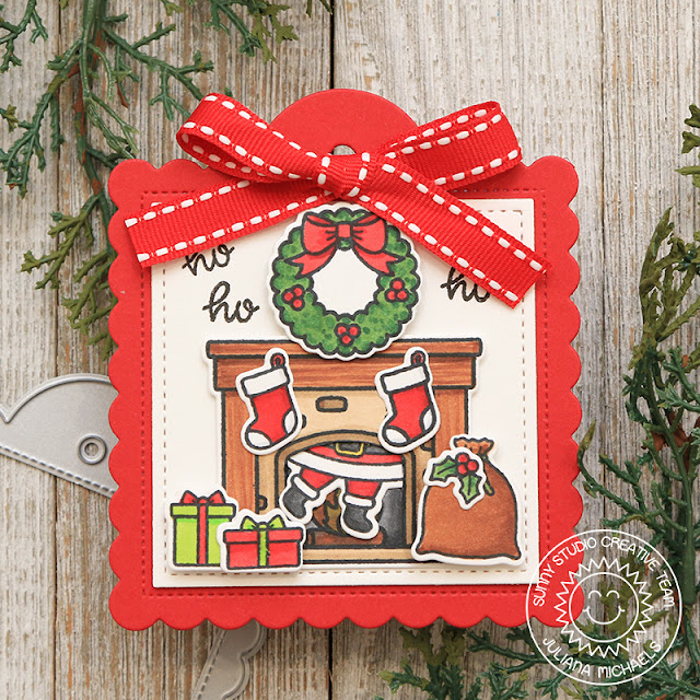Sunny Studio Stamps: Scalloped Tag Dies Season's Greetings Santa Claus Lane Christmas Gift Tags by Juliana Michaels
