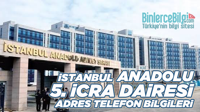 İstanbul Anadolu 5. İcra Dairesi Müdürlüğü Adresi ve Telefon İban No