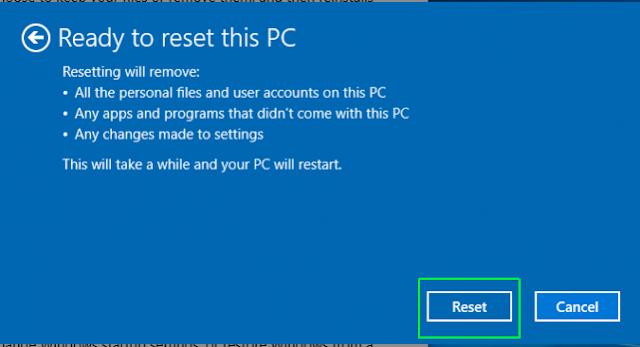 langkah terakhir mereset komputer