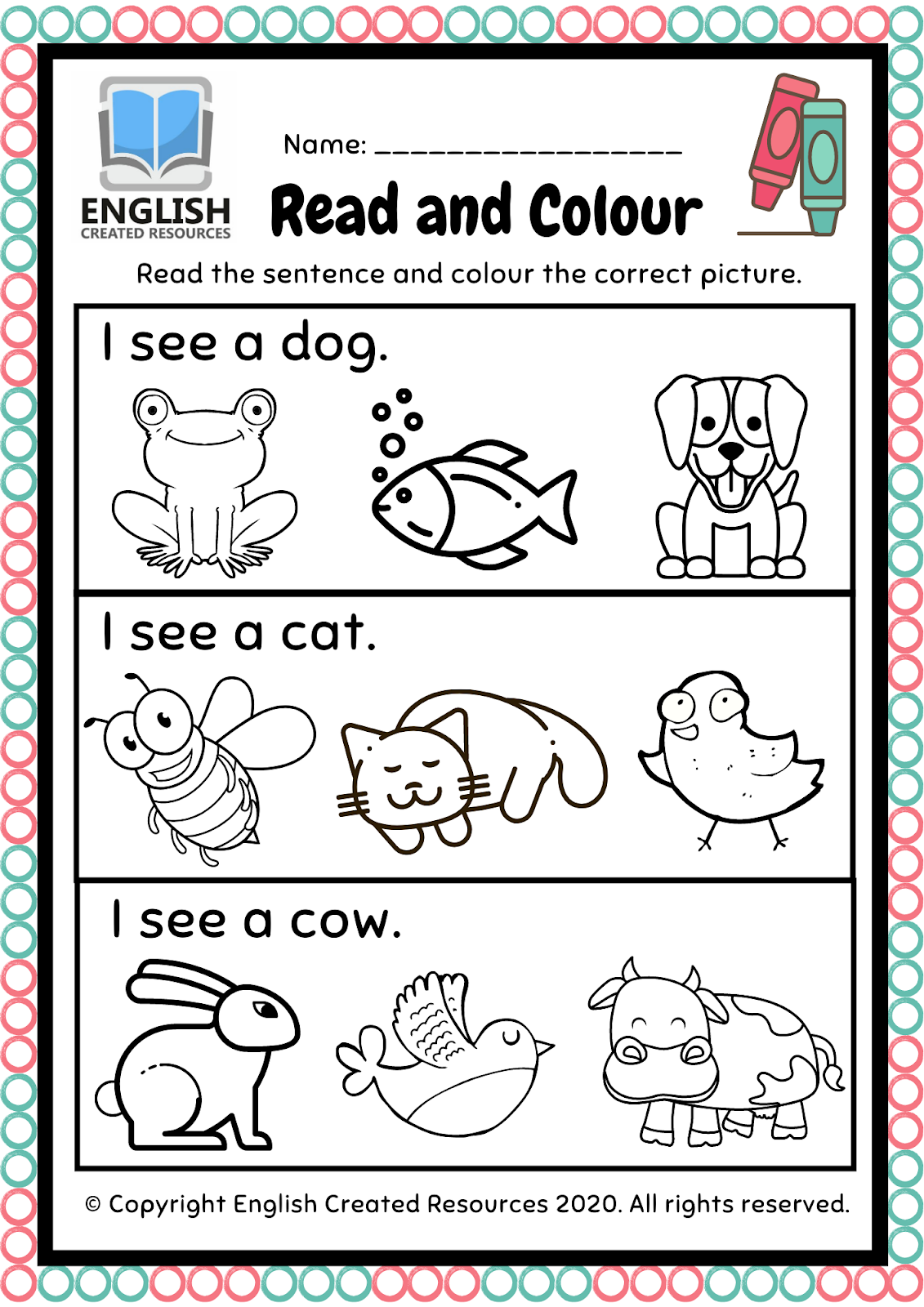 Reading And Coloring Worksheets