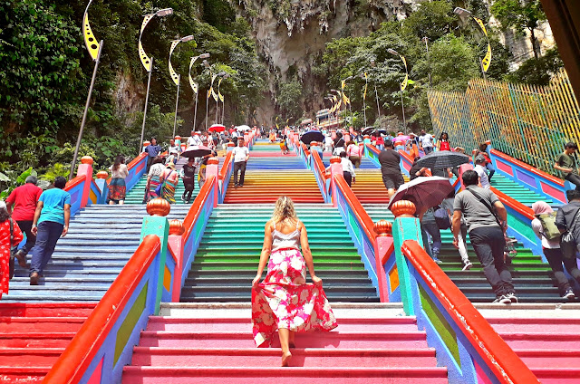 the colorful steps to Batu Caves