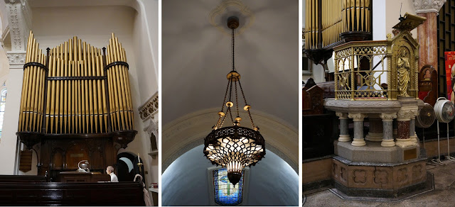 Three images showing the organ, a typical hanging light and a gold colored decorative pulpit on a pedestal
