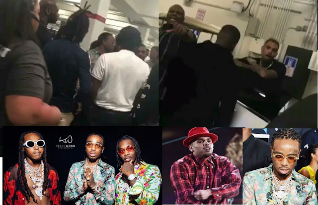 Clips from fight between Chris Brown and Migos and their red carpet looks