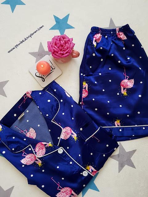 yazlık saten pijama takımı