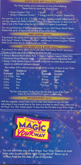 Magic Your Way Ticket Pamphlet Walt Disney World