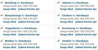 Rute Populer Kereta Api Ke Surabaya