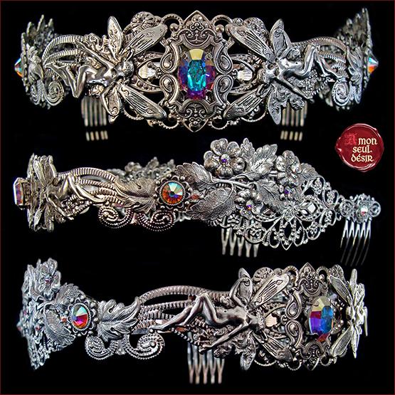 couronne fée mariage féerique arc en ciel cristal fairy wedding crown