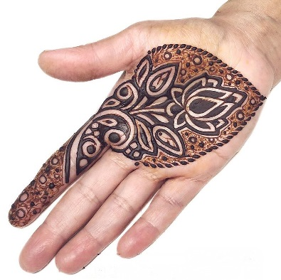 Lotus flower mehndi design for front hand