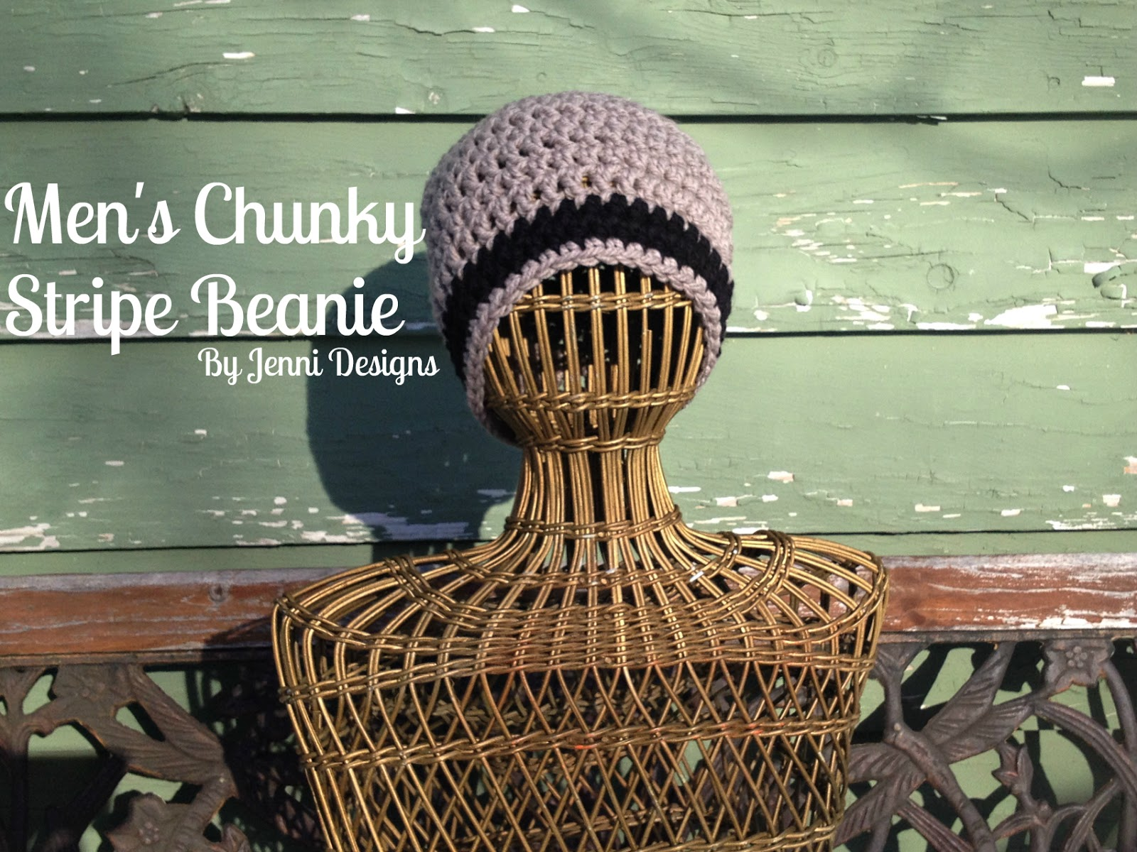 By Jenni Designs Free Crochet Pattern Mens Chunky Stripe Beanie