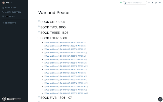 War and Peace ToC