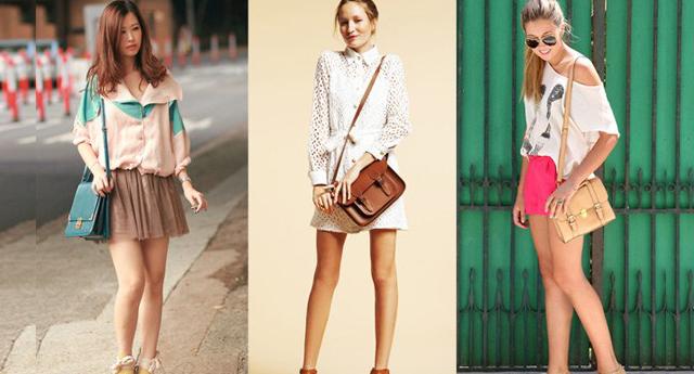 Mulheres de saia e vestido usando bolsas transversais