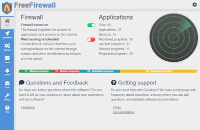 برنامج Free Firewall 2020 يساعدك على حماية جهاز الكمبيوتر ضد جمع انواع التهديدات ومنع البرامج المشبوهة والغير موثوقة من الوصول الى الانترنت