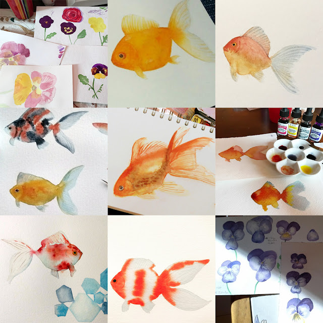 Skillshare, student projects, painting goldfish, painting violas, watercolor, art classes