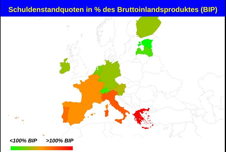 Karte Staatsschulden der Euroländer