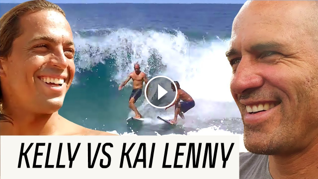 Kelly Slater disputa contra Kai Lenny e Tati Weston brincando no Foil Arquivos do Tour Canal OFF
