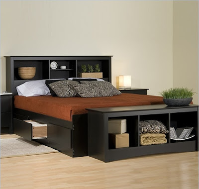 Sonoma Black Bookcase Platform Storage Bed