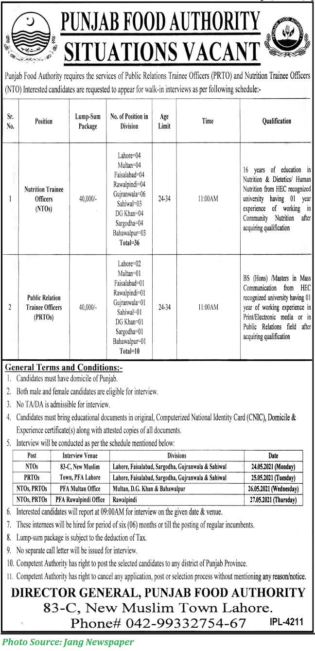 Punjab Food Authority Jobs 2021 46+ Nutrition Trainee Officers, Public Relation Trainee Officers Latest PFA Jobs 2021