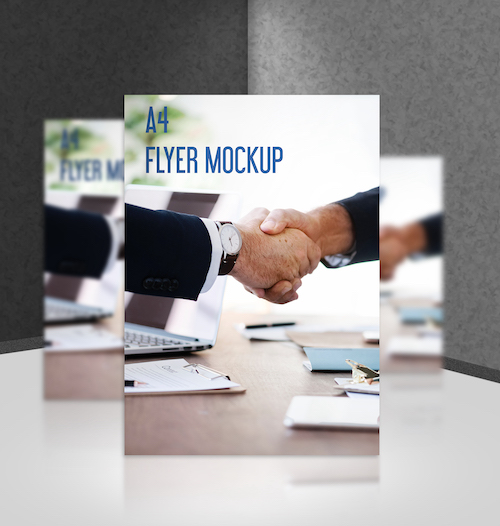 A4 Flyer Mockup standing on the floor