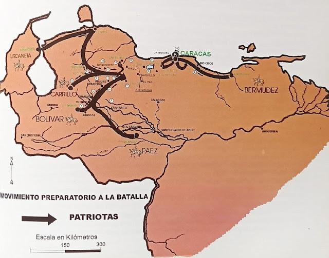 Mapa de la Campaña de Carabobo, del libro Historia Gráfica de la Guerra de Independencia de Venezuela