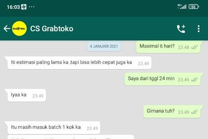 Bukti Transfer & Bukti Chat CS grabtoko.com Dengan Korban - A.N Ari Dari Jakarta