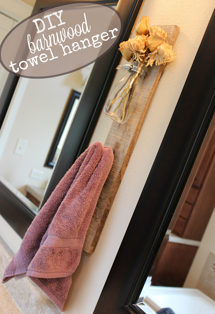 DIY barn wood towel hanger