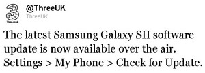 Samsung Galaxy S II update for ThreeUK
