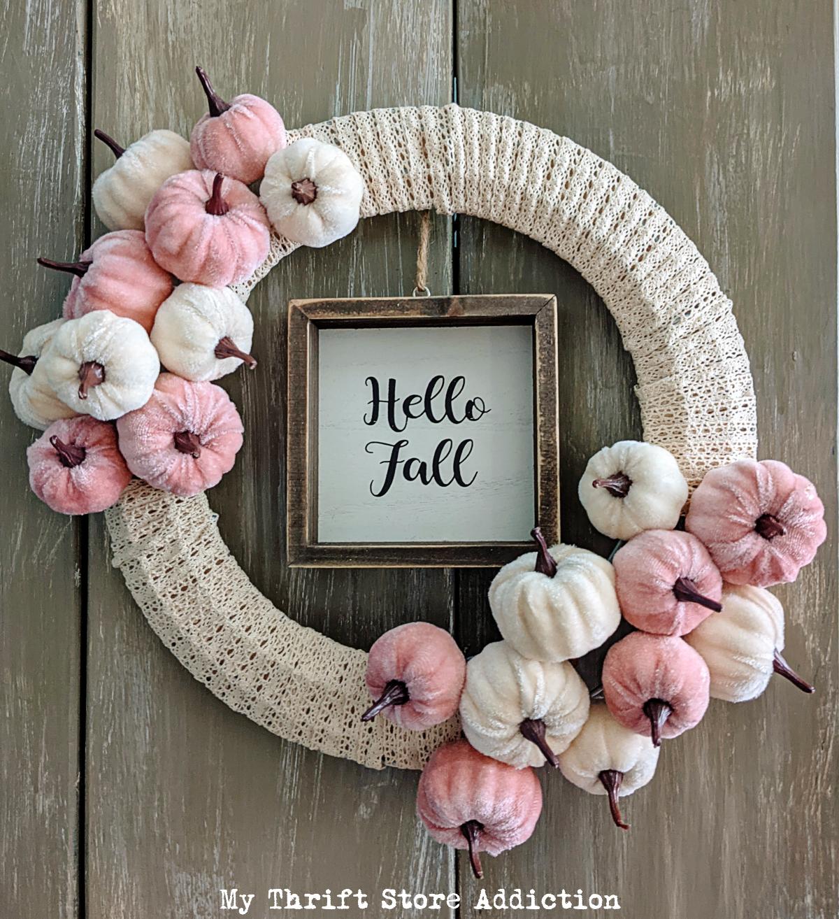 velvet pumpkins and lace wreath