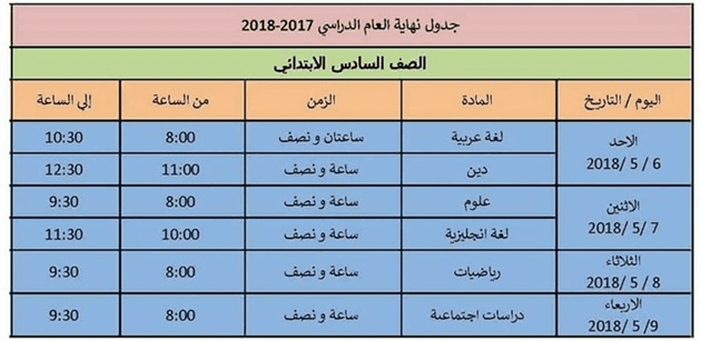 جدول امتحانات الصف السادس الابتدائي 2018 اخر العام محافظة الاسكندرية