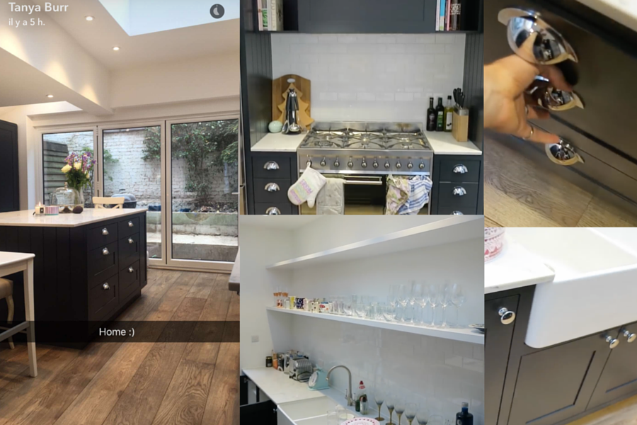 tanya burr new kitchen tanya bakes jim chapman's house blue farrow and ball railings fulham london