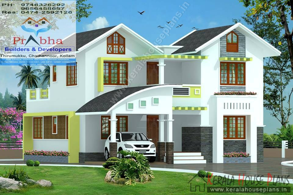 4 bedroom house plans kerala with elevation and floor for Four room house design